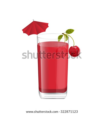 Illustration Juice in Glass with Two Cherries and Umbrella, Isolated on White Background, Photo Realistic Beverage - raster - stock photo