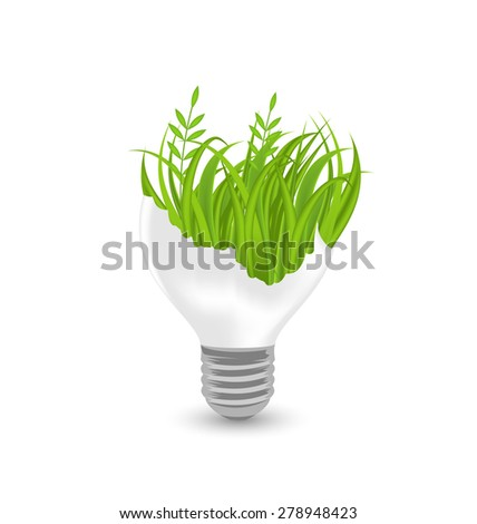 Illustration lamp with grass inside isolated on white background - raster - stock photo