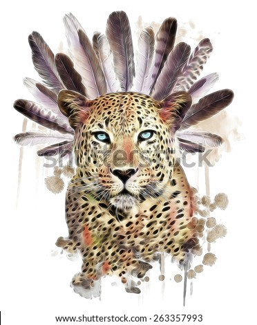 illustration leopard/T-shirt graphics/abstract watercolor like leopard/leopard graphics on a white background/wild leopard hunting/leopard print on canvas/tattoo design - stock photo