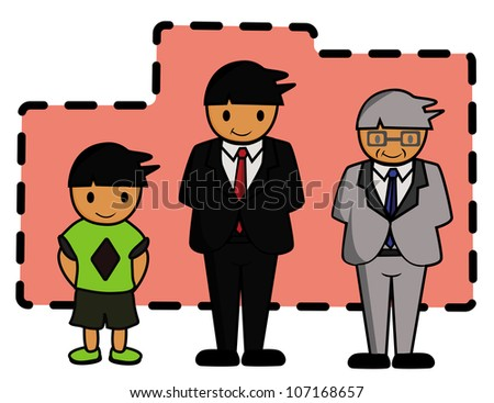 Illustration - Life cycle of human.Childhood,adult and old age. - stock photo