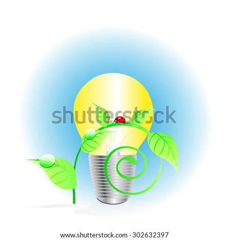 illustration. light bulb and ladybug - stock photo