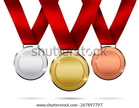 Illustration medals isolated on a white background - stock photo