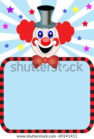illustration merry clown with paper for invitation - stock photo