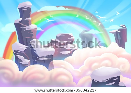 Illustration: Mountain Top with Clouds and Rainbow. Realistic Fantastic Cartoon Style Artwork Scene, Wallpaper, Story Background, Card Design  - stock photo