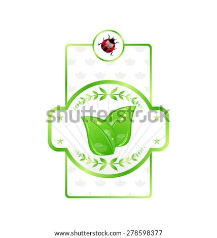 Illustration natural eco label with green leaves for packing product - raster - stock photo