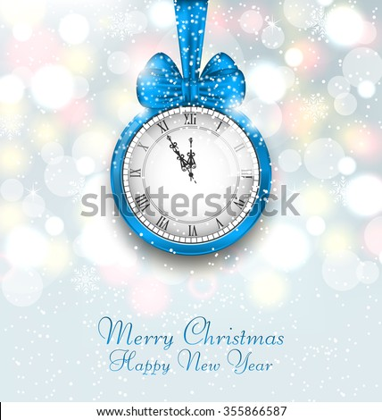 Illustration New Year Midnight Shimmering Background with Clock - raster - stock photo
