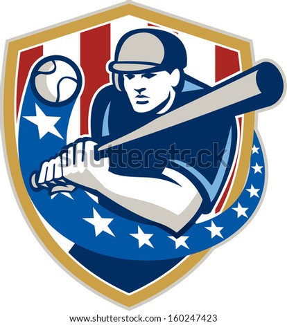 Illustration of a american baseball player batter hitter holding bat batting set inside crest shield shape with stars and stripes done in retro style isolated on white background. - stock photo