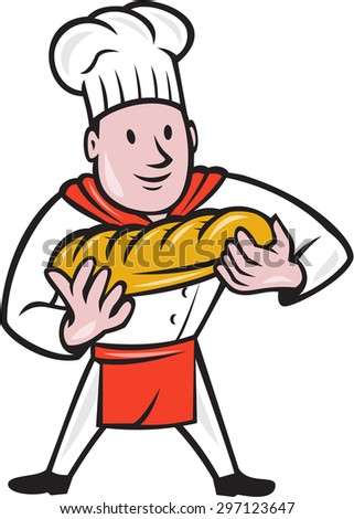 Illustration of a baker chef cook standing holding loaf of bread viewed from the front set on isolated white background done in cartoon style.  - stock photo