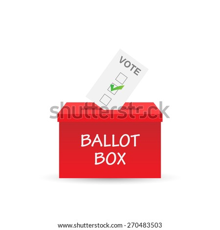 Illustration of a ballot box and vote isolated on a white background. - stock photo