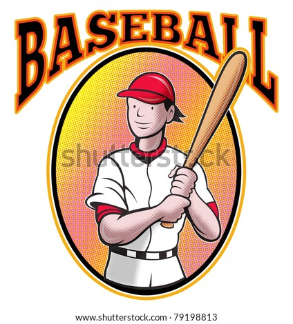 illustration of a baseball player batting cartoon style set inside oval in isolated background with words Baseball - stock photo