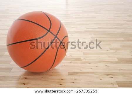 Illustration of a basketball on the wooden floor. 3d high resolution image - stock photo