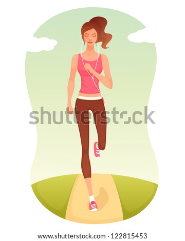 illustration of a beautiful cartoon girl jogging - stock photo