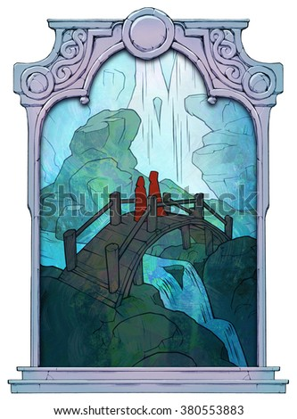 Illustration of a beautiful landscape with waterfall, river, a bridge across it and two figures in red standing on this bridge framed with a stone decorated hand drawn arch - stock photo