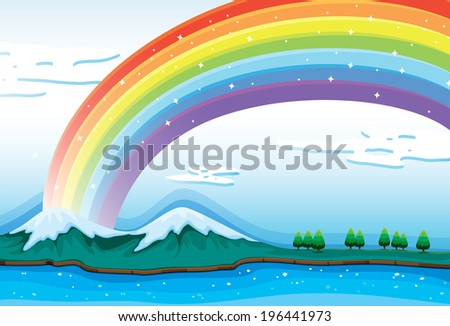 Illustration of a beautiful rainbow in the sky - stock photo