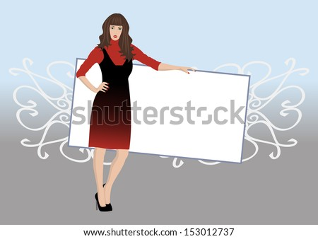 Illustration of a beautiful young woman posing with poster - stock photo