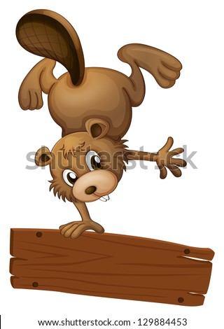 Illustration of a beaver and the empty board on a white background - stock photo