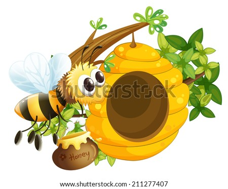 Illustration of a bee near the beehive on a white background - stock photo