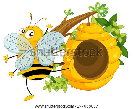 Illustration of a big fat bee near the beehive on a white background - stock photo