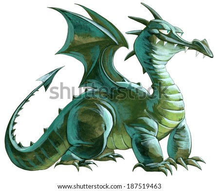 Illustration of a big green dragon - stock photo