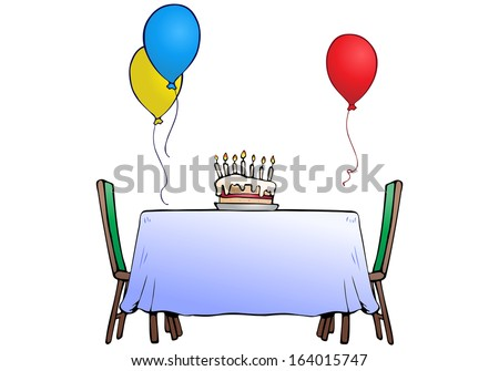 illustration of a birthday cake on isolated white background  - stock photo