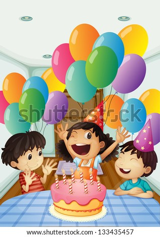 Illustration of a birthday celebration with balloons and cake - stock photo