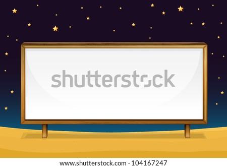 illustration of  a blank banner at night - EPS VECTOR format also available in my portfolio. - stock photo
