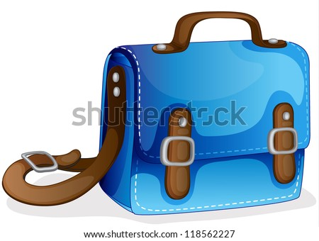 illustration of a blue bag on a white background - stock photo