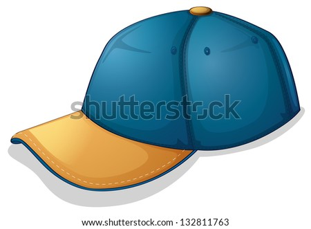 Illustration of a blue cap on a white background - stock photo