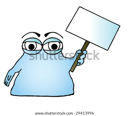 Illustration of a blue cartoon blob character holding a blank sign. - stock photo
