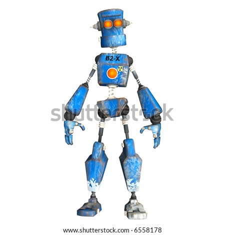 Illustration of a Blue Robot on a white background - stock photo