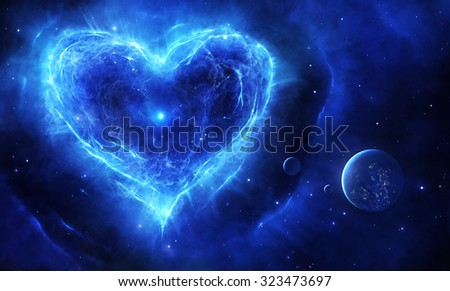 Illustration of a blue supernova in heart shape with planets and stars - stock photo