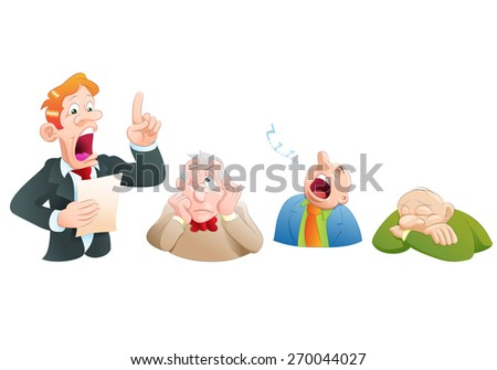 illustration of a boring presentation speech in isolated white background - stock photo