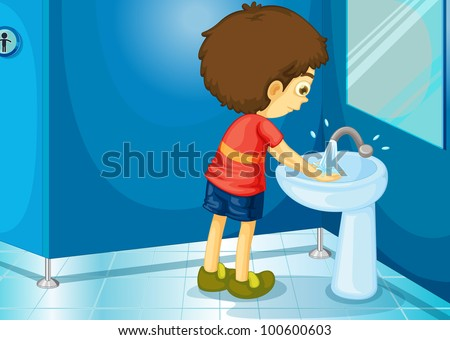 Illustration of a boy in a bathroom - EPS VECTOR format also available in my portfolio. - stock photo