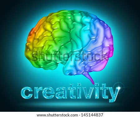 illustration of a brain with the colors of the rainbow - stock photo