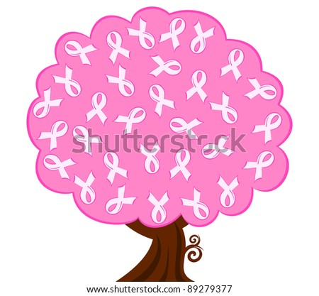 illustration of a breast cancer pink ribbon tree - stock photo