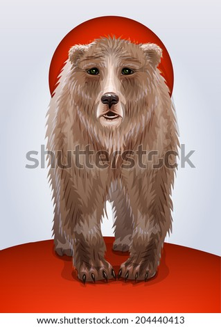 Illustration of a brown bear, symbol of Russia or USSR, Russian military territorial expansion  - stock photo