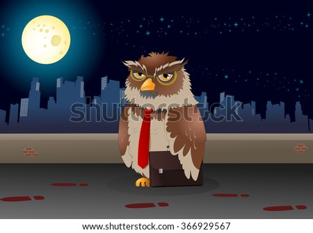 illustration of a brown business owl pose on night background - stock photo