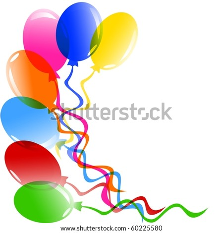 illustration of a bunch of balloons isolated on white - stock photo