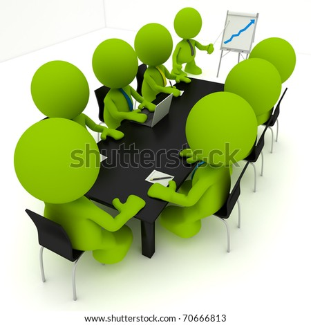 Illustration of a business meeting with a man presenting a flipchart showing a positive trend.  Part of my cute green man series. - stock photo