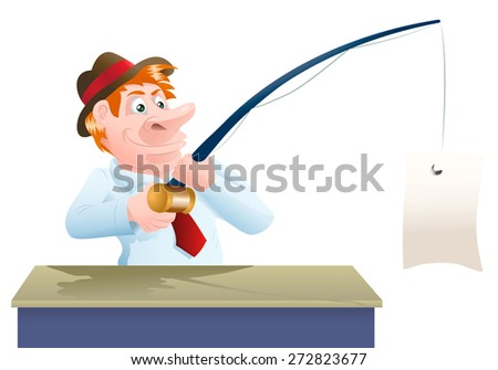 illustration of a businessman catch a blank banner in his fishing rod - stock photo