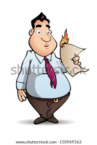 illustration of a businessman hold burning papers on isolated white background - stock photo