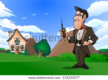 illustration of a businessman hold cellphone on nature background - stock photo