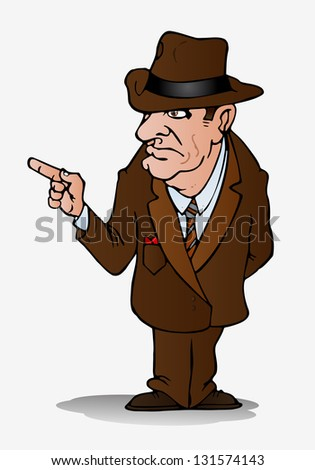 illustration of a businessman point his finger on isolated white background - stock photo