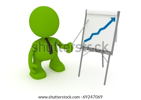 Illustration of a businessman presenting at a flip chart showing a positive trend.  Part of my cute green man series. - stock photo