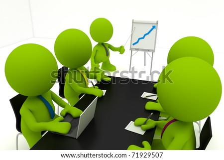 Illustration of a businessman presenting at a flipchart with his colleagues taking notes.  Part of my cute green man series. - stock photo