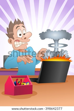 illustration of a businessman shock from explode laptop in the office - stock photo