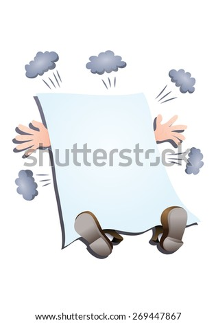 illustration of a businessman struck down by blank banner you can add text in it - stock photo