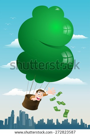 illustration of a businessman throwing moneys while riding hot air balloon - stock photo