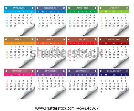 Illustration of a 2017 Calendar - stock photo