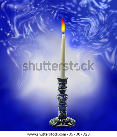 illustration of a candle on a marble blue and white background - stock photo